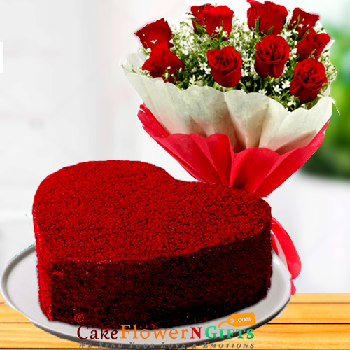 1kg heart shaped red velvet cake n roses flower bouquet