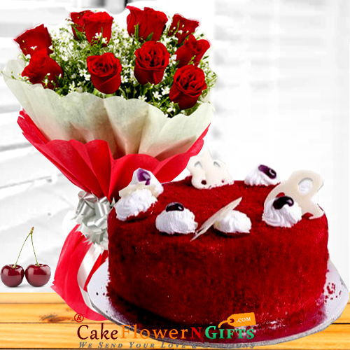 half kg red velvet cake n roses flower bouquet