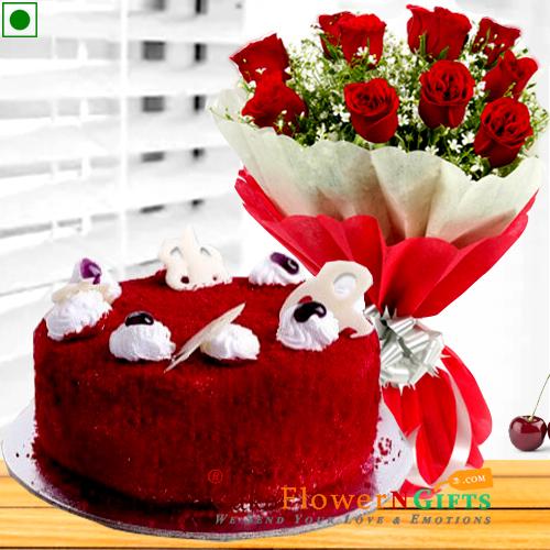 1kg eggless red velvet cake n roses flower bouquet
