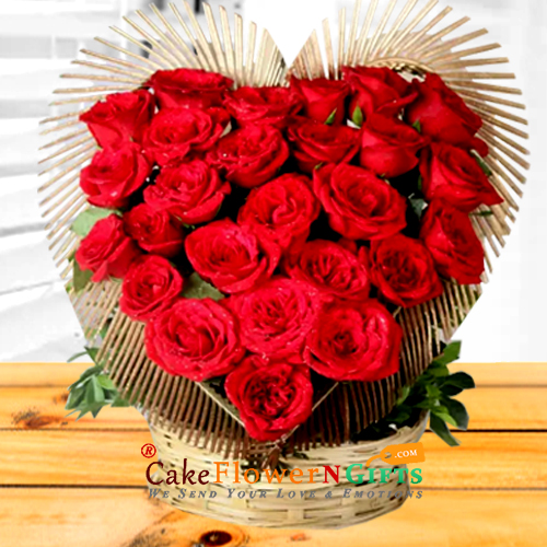 Heart Shaped Basket of Exotic Red Roses
