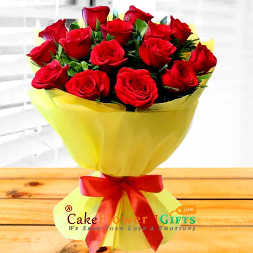 15 Red Roses Flower Bouquet