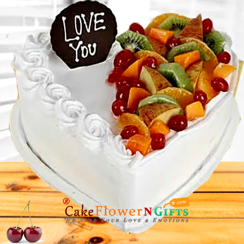 half kg heart shaped vanilla fruit cake