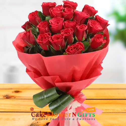 20 red roses paper packing bouquet