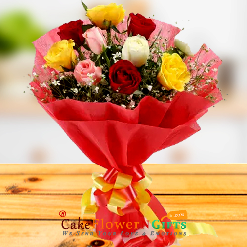 10 mix roses paper packing bouquet