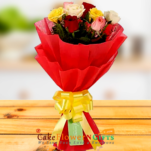 8 red roses paper packing bouquet