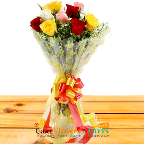 8 mix roses paper packing bouquet