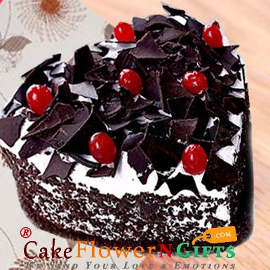 half kg black forest cake heart shape