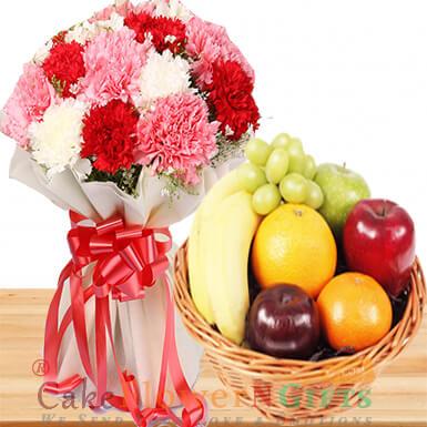 2kg seasonal mixed fruit basket n 10 mix carnation flower bouquet
