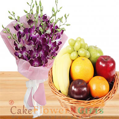 2 kg fresh fruit basket n orchids flower bouquet