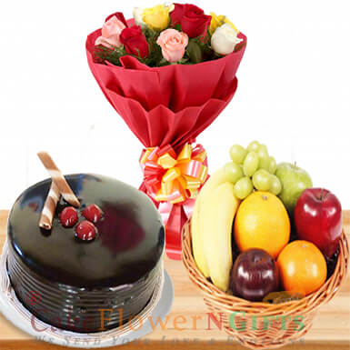 half kg chocolate cake 2 kg fresh fruit basket n 10 roses bouquet