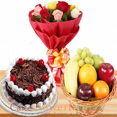 half kg Black forest cake 2 kg fresh fruit basket n 10 roses bouquet