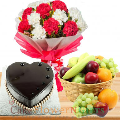 half kg heart shape chocolate cake 3 kg fresh fruit basket n Carnation bouquet