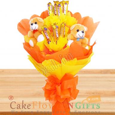designer teddy n five star chocolate bouquet