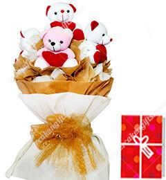 5 Teddy Bear Bouquet