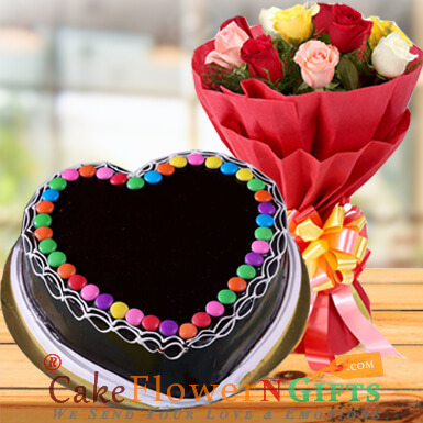 half kg eggless chocolate truffle gems heart shape cake and 10 roses bouquet