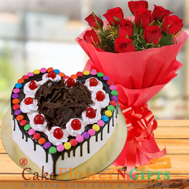 1kg black forest gems heart shape cake and roses bouquet