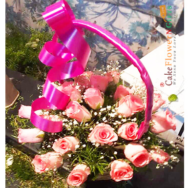romantic 25 pink roses basket