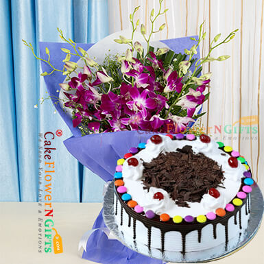 half kg black forest gems cake and orchid bouquet