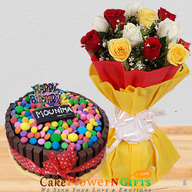 mix roses half kg kitkat gems chocolate cake