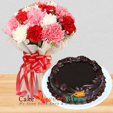 Mix Carnations Bouquet Eggless Chocolate Cake