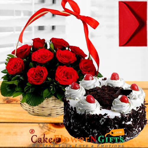 Black Forest Cake Half Kg N Red Roses Basket