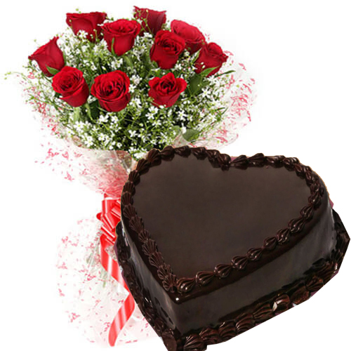 half kg heart shape chocolate truffle cake n 10 red roses bouquet