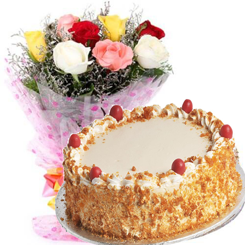 500gms Butterscotch Cake with Mix Roses Bunch