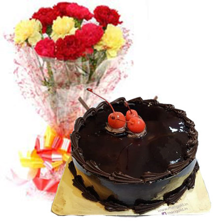 Chocolate Truffle Cake Half Kg N Carnations Bouquet