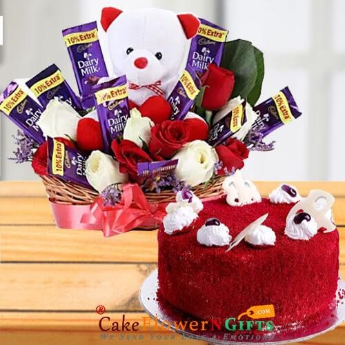eggless half kg red velvet cake n teddy chocolate roses flower bouquet