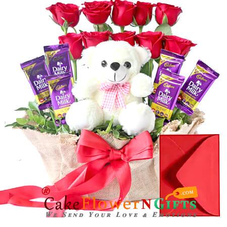 stylish teddy red roses flower dairy milk chocolate bouquet