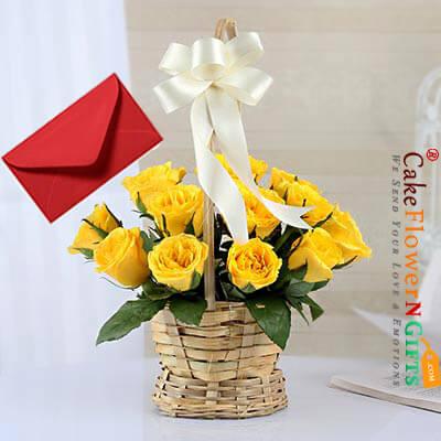 15 yellow roses basket