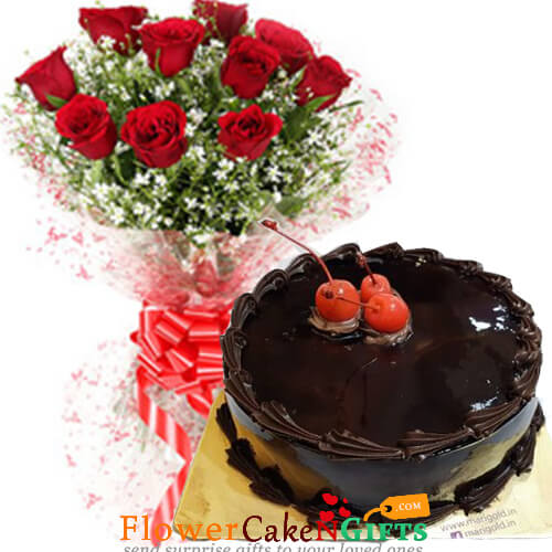 500gms Chocolate Truffles Cake with Red Roses Bunch