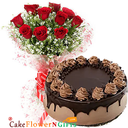 half kg choco chip cake and 10 red roses bouquet