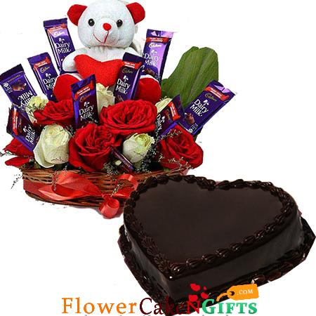eggless half kg chocolate cake heart shape n roses flower n teddy chocolate arrangement