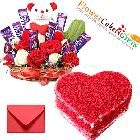 eggless 1kg red velvet cake heart shape n teddy roses flower chocolate gifts