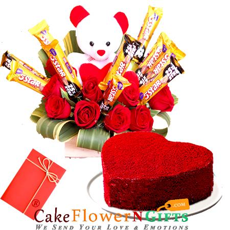 1kg heart shaped red velvet cake n special roses teddy chocolate basket