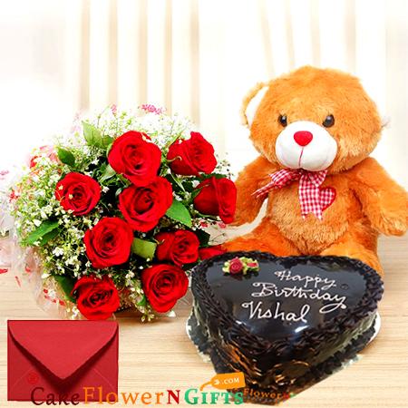 half kg heart shape chocolate cake roses bouquet teddy