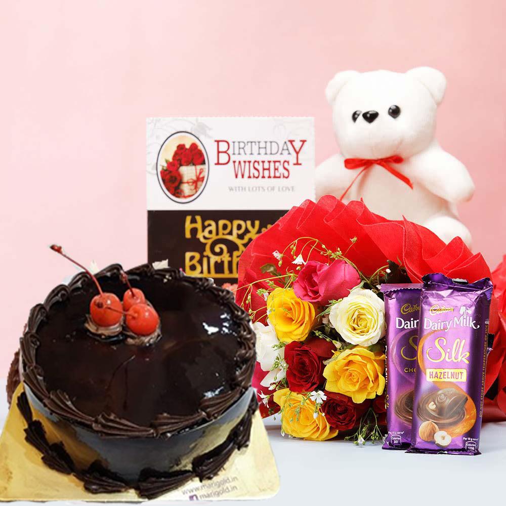 half kg eggless chocolate Cake mixed roses teddy bear dairy milk silk chocolates card