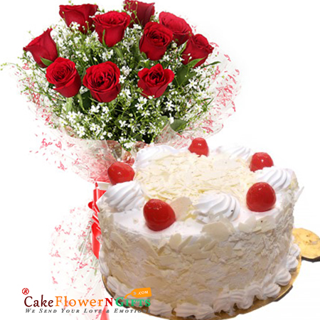 half kg white forest cake and 10 red roses bunch