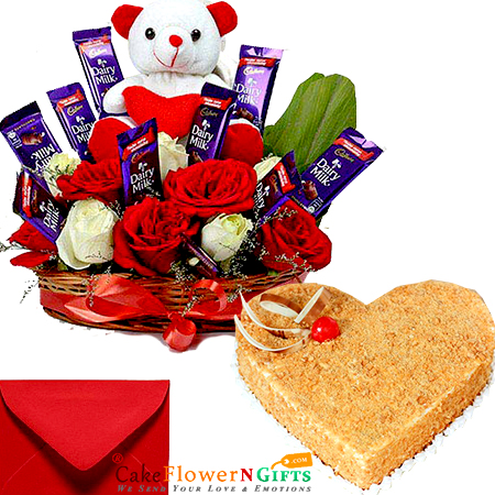 eggless 1kg heart shape butterscotch cake cake n teddy roses chocolate combo gifts