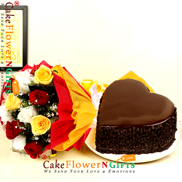 half kg choco chips heart shape cake with 10 mix roses bouquet