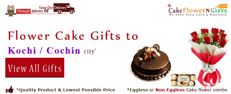 Online Cake and Flower Delivery in Kochi Cochin At Midnight Sameday