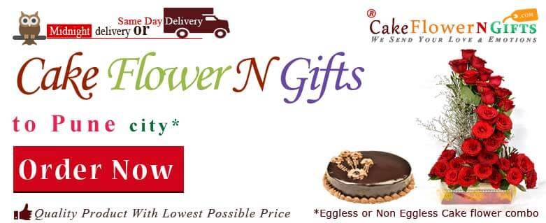Midnight Anniversary chocolates Teddy Birthday Eggless Cake flower Bouquet delivery to Pune Sameday